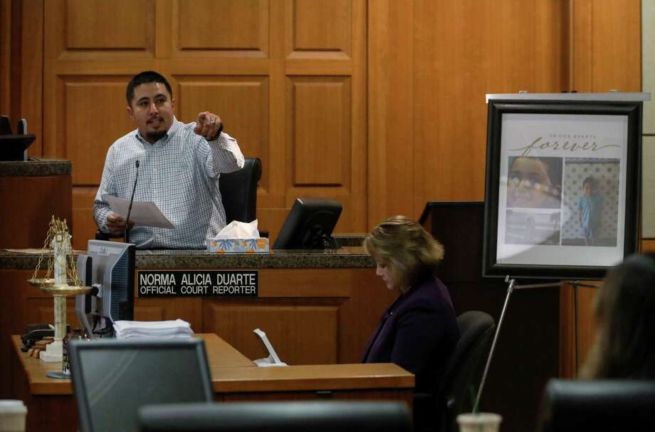 Carlos Villarreal, the uncle of Joshua Medrano, who was killed by Blaine Boudreaux, not pictured, along with another person in separate accidents in April 2015, gives a victim impact statement in the 177th state District Court, Wednesday, Oct. 3, 2018, in Houston. Photo: Jon Shapley, Staff Photographer / Staff Photographer / © 2018 Houston Chronicle