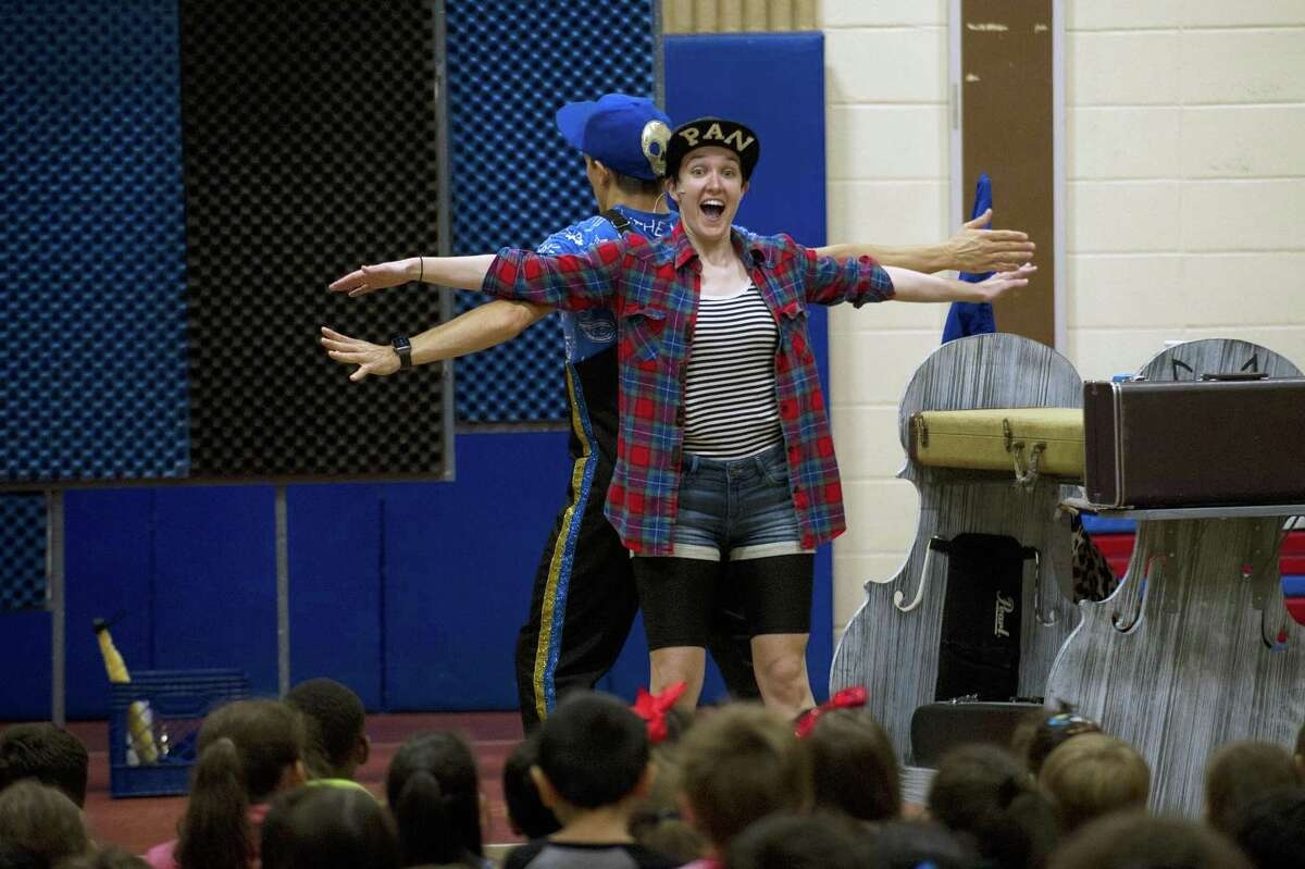 Summer Theater of New Canaan actors Omen Sade and Sarah White perform Peter Pan during an anti-bullying program at Stillmeadow Elementary School in Stamford.