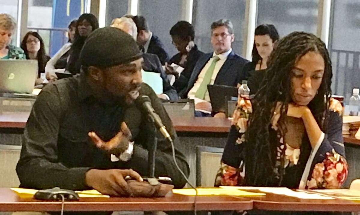 Chris Mercer speaks on behalf of new Norwalk charter school at CT State BOE meeting in Hartford. Oct. 3, 2018