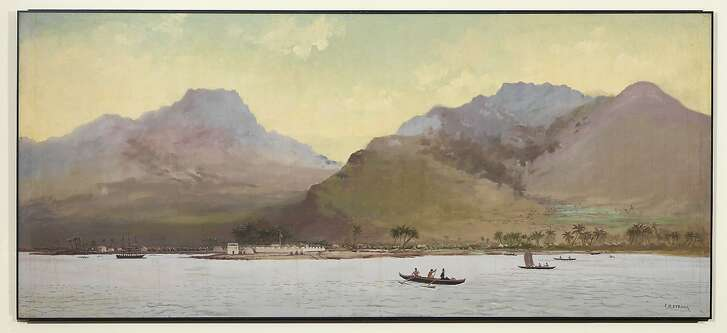 """Joseph Strong's oil painting """"Honolulu Harbor, 1836,"""" painted in 1886, depicts the harbor in the year King Kalakaua was born."""