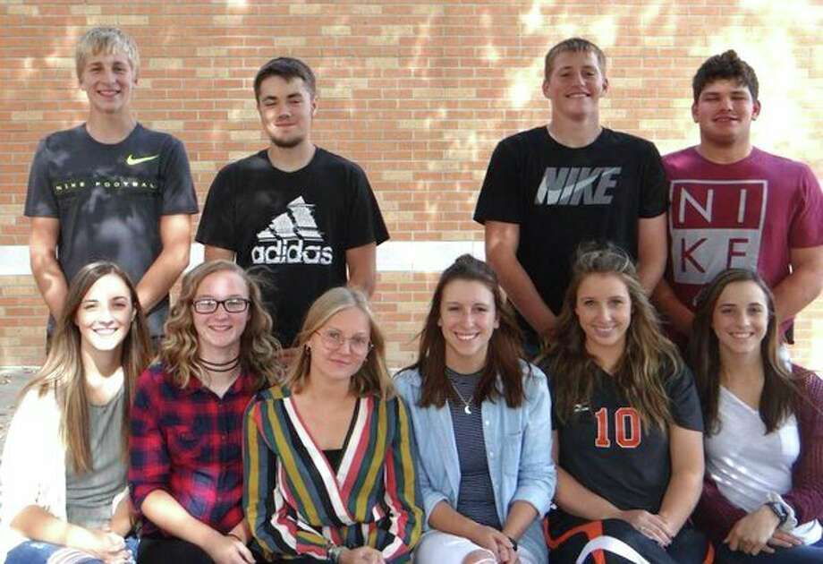 Harbor Beach's senior court candidates are Haylie Essenmacher, daughter of Scott and Kerri Essenmacher, escorted by Mason Jahn; Megan Pawlowski, daughter of John and Judy Pawlowski, escorted by Adam Kowaleski; Valentine Herman, exchange student from Belgium; Alicia Booms, daughter of Scott and Michelle Booms and Larry Roggenbuck, escorted by Griffin Emerick, not available for the photo; Alyssa Guza, daughter of Steve and Sandy Guza, escorted by Anthony Schweitzer and Hallie Essenmacher, daughter of Scott and Kerri Essenmacher, escorted by Kendall Gentner. (Submitted Photo)