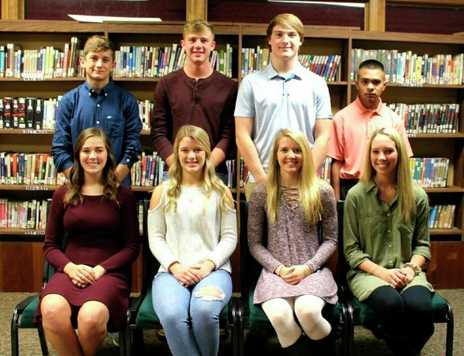 On the 2018 homecoming court are, seated in front from the left, Karly Cunningham, Kristyn Wurst, Tiffany White and Madison Krohn; and in the back, from the left, are Samuel Gasta, Andrew Siegfried, Preston Warren and Derek Moreno. (Submitted Photo)