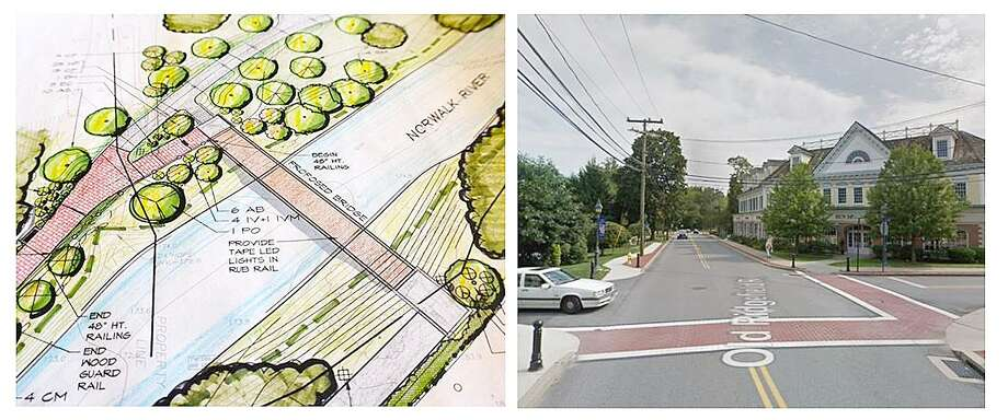 The propsed Wilton Center/Train Station pedestrian bridge, left, has been designed but not built due to lack of funds. Streetscape improvements, right, were completed in Wilton Center in 2016. Wilton Center is a focus of the Plan of Conservation and Development, the first draft of which was unveiled Sept. 26, 2018. Photo: Contributed Photo / Norwalk Hour contributed