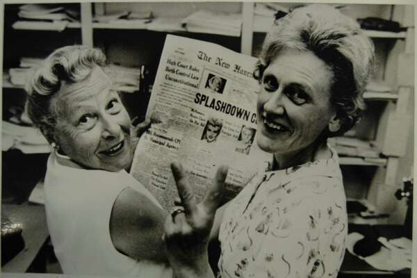 This is a reproduction of a photo from the New Haven Register's front page on June 8, 1965. Estelle Griswold, left, and Ernest Jahncke, president of the Planned Parenthood League of Connecticut, celebrate the Suprme Court's decision of Griswold vs. Connecticut.