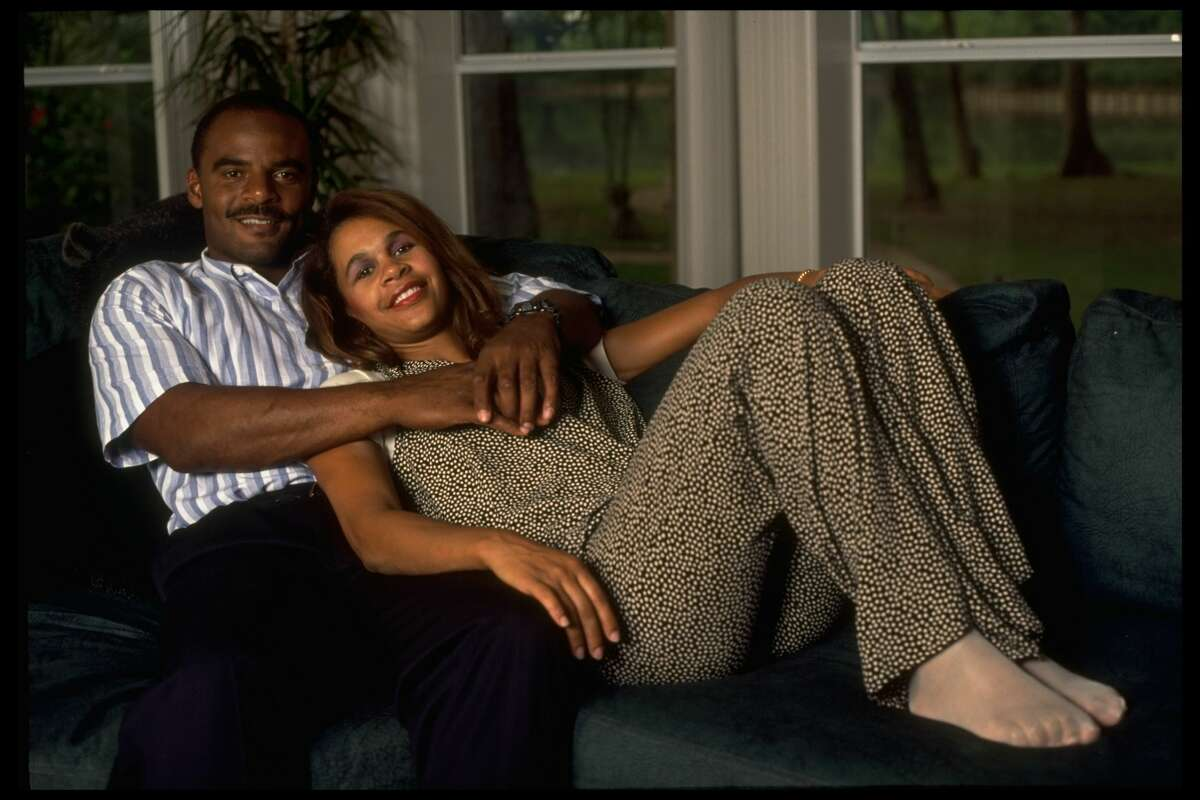 1993: A portrait of Houston Oilers star Warren Moon and his wife Felicia.