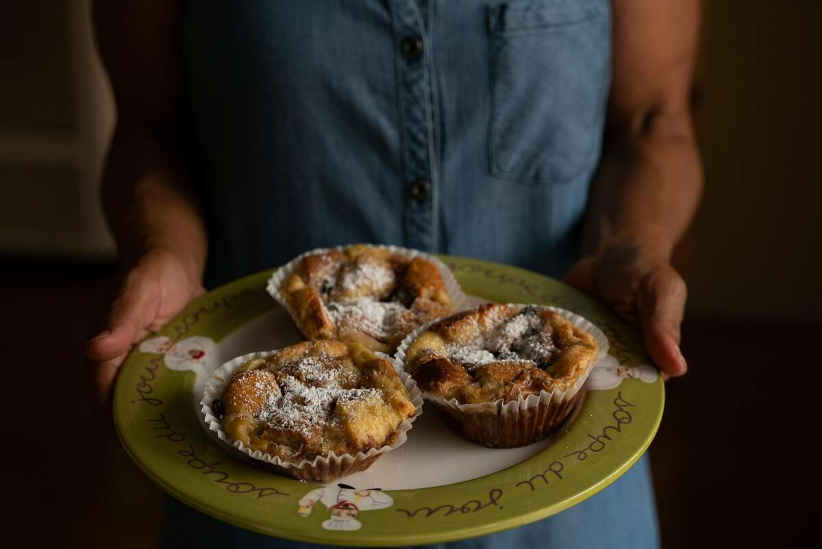 Renee McGhee serves her signature bread pudding, at her home in Berkeley, Calif., on Tuesday, October 2, 2018.