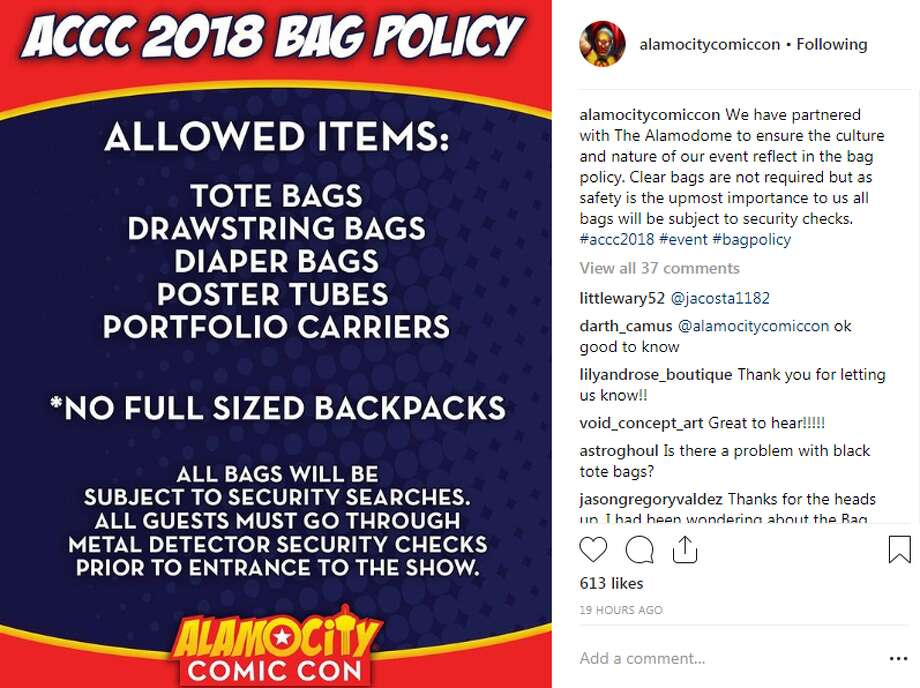 Alamo City Comic Con's Instagram post announcing an ease on Alamodome bag restrictions. Photo: Instagram