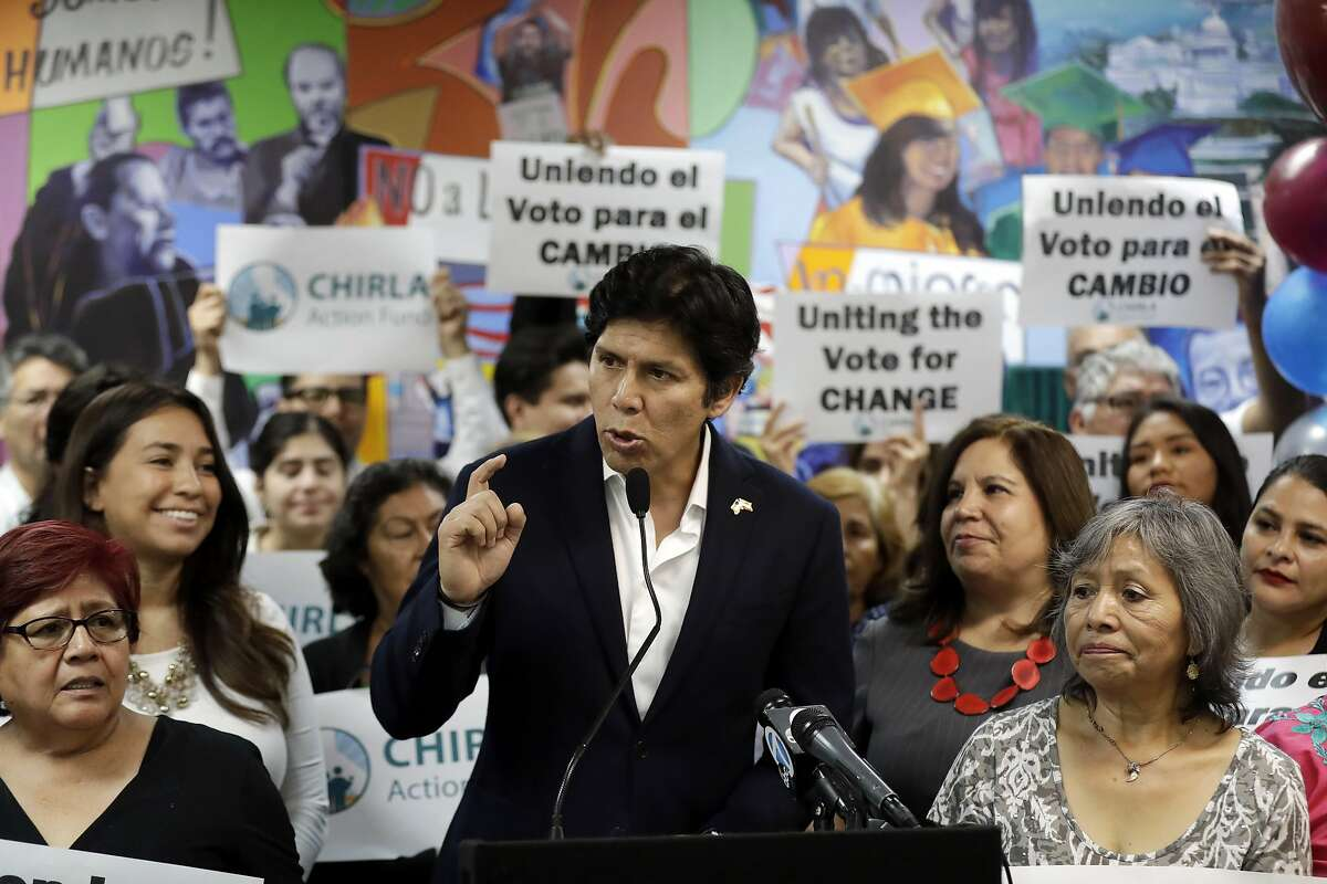ADVANCE FOR RELEASE SATURDAY, OCT. 6, 2018, AND THEREAFTER - FILE - In this Sept. 25, 2018, file photo State Sen. Kevin de Leon, D-Los Angeles, speaks during a campaign stop at CHIRLA Action Fund headquarters in Los Angeles. De Leon is running for U.S. Senate against incumbent Dianne Feinstein. (AP Photo/Marcio Jose Sanchez, File)