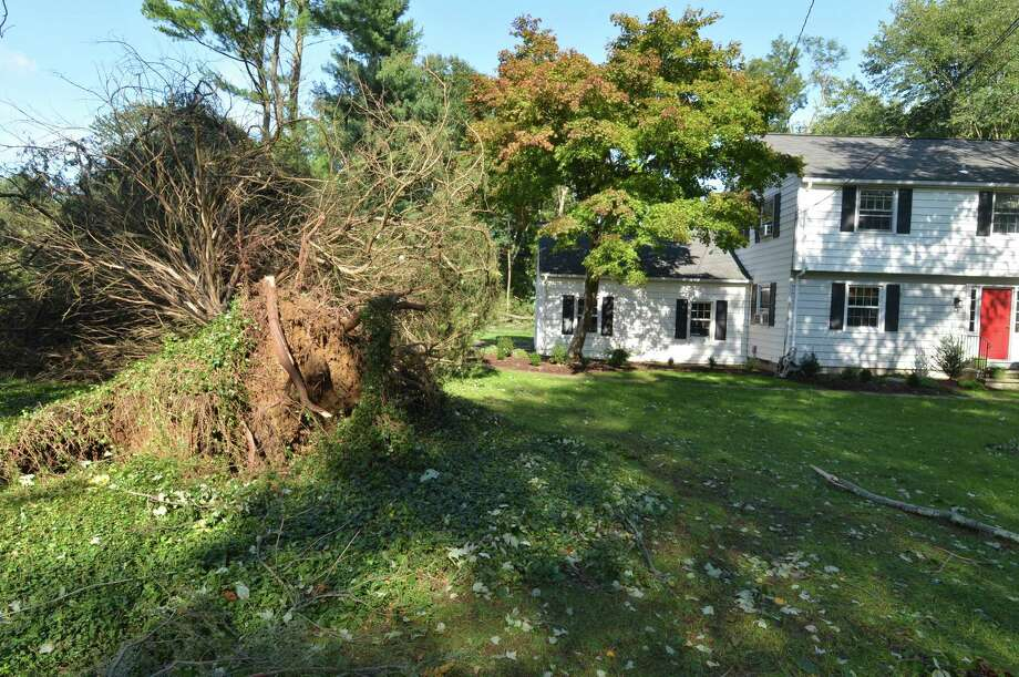 An uprooted tree in the front yard of a house on Conrad St. in New Canaan Conn. on Wednesday October 3, 2018, after strong storms brought down trees and poles causing power outages on Tuesday night. Photo: Alex Von Kleydorff / Hearst Connecticut Media / Norwalk Hour