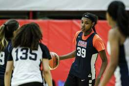 Jordan Horston of Columbus, Ohio participates in tryouts for the 2018 USA Basketball Women's U17 World Cup Team at the United States Olympic Training Center in Colorado Springs, Colorado. Horston, the No. 2 ranked high school recruit in America, comitted to Tennessee over UConn on Wednesday.