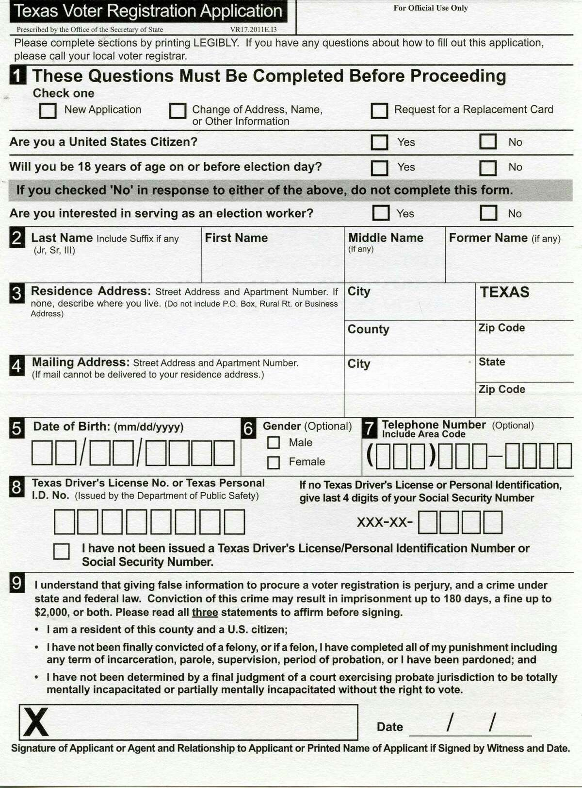 A Texas Voter Registration Application from the Texas Secretary of State. State officials say the applications submitted by the group Vote.org do not comply with Texas law.