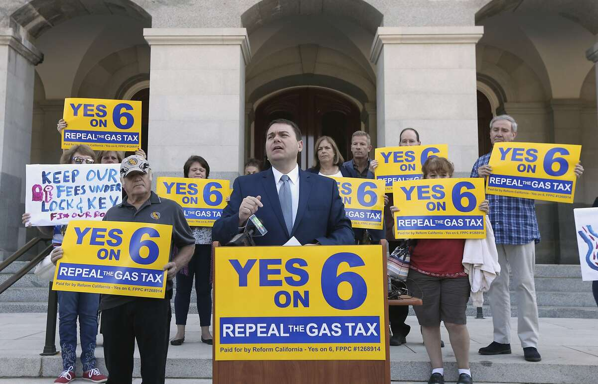 Carl DeMaio, who is leading the Proposition 6 campaign, to repeal a recent gas tax increase, discusses a ballot measure he is proposing to provide money for road repairs and eliminate high-speed rail on Tuesday, Sept. 25, 2018, in Sacramento, Calif. The 2020 initiative would change the state constitution to require that revenue from existing gas taxes be spent only for road and bridge work. (AP Photo/Rich Pedroncelli)