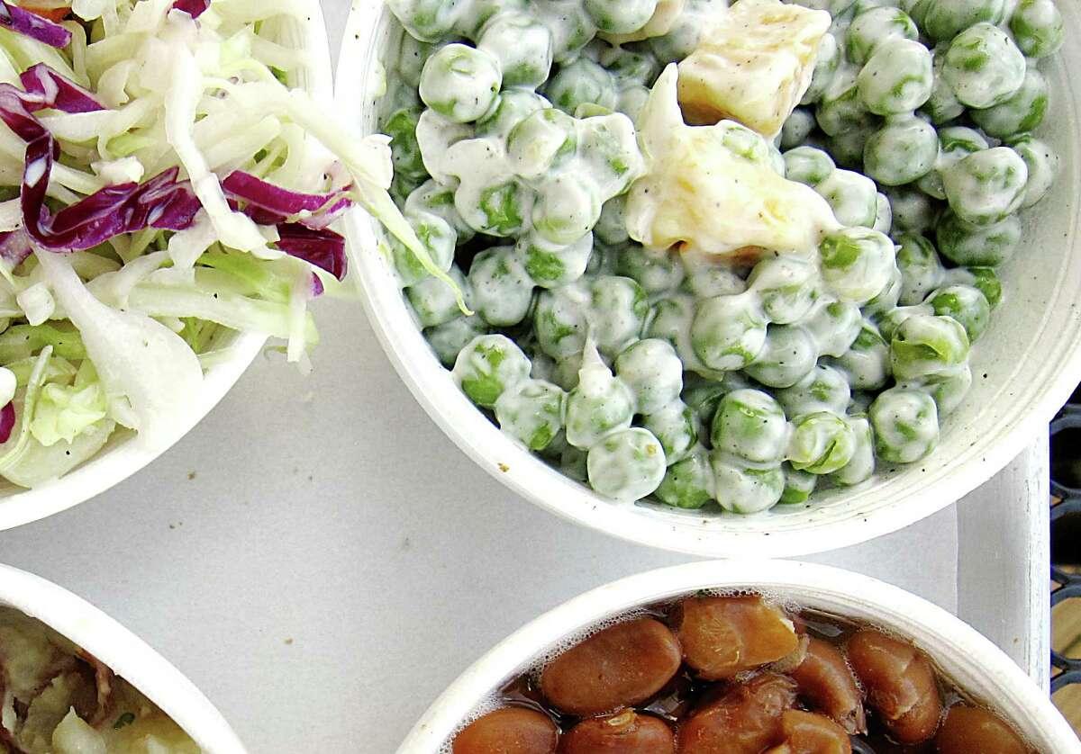 Best sides: 4. Pea salad at Bare Bull BBQ, 8545 FM 2673, Canyon Lake, 830-481-6001,barebullbbq.com.