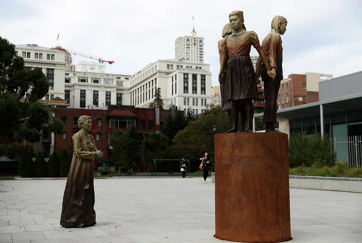 """SAN FRANCISCO, CA - OCTOBER 03: A view of the 'Comfort Women' Column of Strength statue on October 3, 2018 in San Francisco, California. Osaka, Japan Mayor Hirofumi Yoshimura announced that he plans end a six-decade """"sister city"""" relationship with San Francisco to protest the 'Comfort Women' Column of Strength statue by artist Steven Whyte that depicts Japanese World War II era sex slaves. (Photo by Justin Sullivan/Getty Images)"""