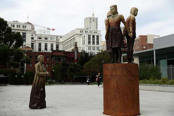 "SAN FRANCISCO, CA - OCTOBER 03:  A view of the 'Comfort Women' Column of Strength statue on October 3, 2018 in San Francisco, California. Osaka, Japan Mayor Hirofumi Yoshimura announced that he plans end a six-decade ""sister city"" relationship with San Francisco to protest the 'Comfort Women' Column of Strength statue by artist Steven Whyte that depicts Japanese World War II era sex slaves.  (Photo by Justin Sullivan/Getty Images)"