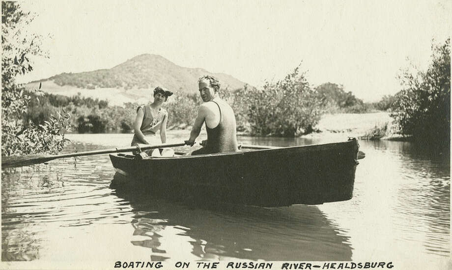"Caption: ""Boating on the Russian River - Healdsburg,"" c. 1915, shows Grace and William McCarthy in a row boat on the Russian River at Healdsburg.