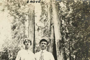 """Caption: """"Grove,"""" c. 1915, shows Grace and William McCarthy standing in the Armstrong Grove near Guerneville. """"McCarthy Album 07, Photograph 310,"""" California State Archives Exhibits, accessed October 3, 2018"""