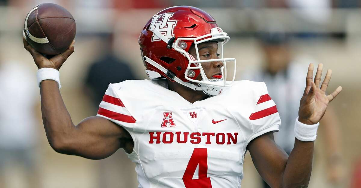 Houston's D'Eriq King (4) passes the ball down field during an NCAA college football game against Texas Tech, Saturday, Sept. 15, 2018, in Lubbock, Texas. (Brad Tollefson/Lubbock Avalanche-Journal via AP)