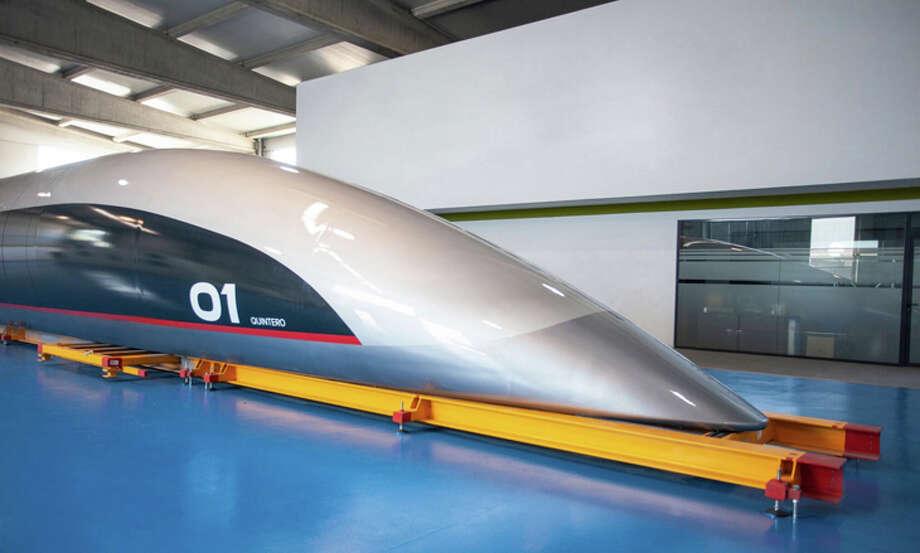 Front end of HyperloopTT's new passenger capsule. Photo: HyperloopTT
