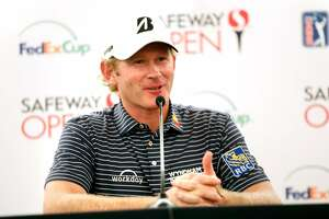 Brandt Snedeker talks to the media before playing his round in Safeway Open Pro-Am at Silverado Resort and Spa in Napa, Calif. on Tuesday, October 2, 2018.