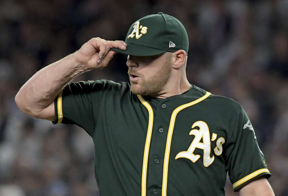 Oakland Athletics pitcher Liam Hendriks reacts after giving up a two-run home run to New York Yankees' Aaron Judge during the first inning of the American League wildcard playoff baseball game, Wednesday, Oct. 3, 2018, in new York (AP Photo/Bill Kostroun) Photo: Bill Kostroun / Associated Press