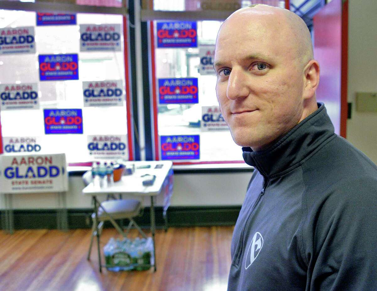 State Senate candidate Aaron Gladd at his Second Avenue campaign headquarters Tuesday Oct. 2, 2018 in Troy, NY. (John Carl D'Annibale/Times Union)