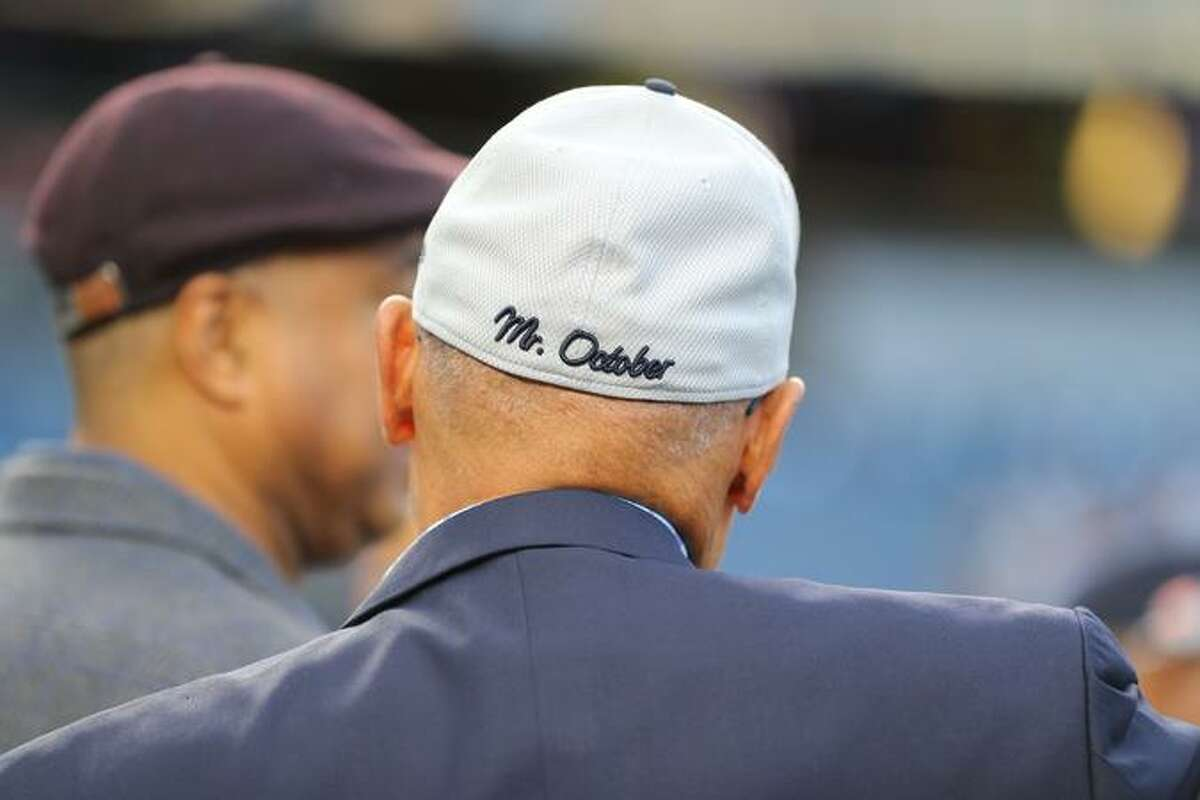 Hall of Famer Reggie Jackson wore a Yankees cap with his nickname at the wild-card game.