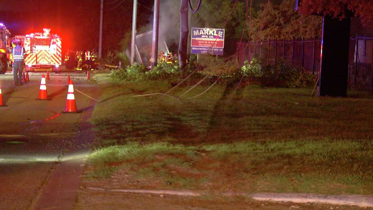 At about 1:15 a.m. he driver veered off Interstate 35 near Weidner Road, hit several power poles and a fence and finally came to a stop in an embankment.