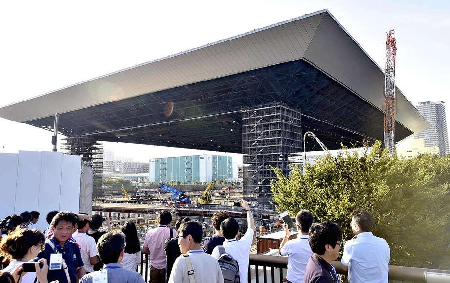 The construction site of the Olympic Aquatics Center on Sept. 5 2018, in Koto Ward, Tokyo. Photo: Japan News-Yomiuri / Japan News-Yomiuri