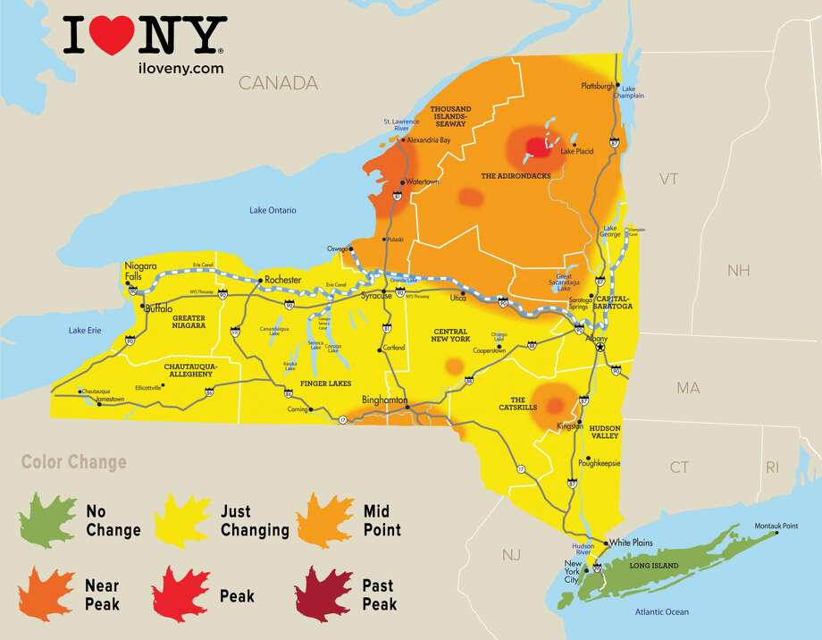 Peak and near-peak foliage is expected the first weekend in October in some areas of the Adirondacks region, while near-peak colors will emerge in the Thousand Islands-Seaway region and parts of the Catskills, according to observers for Empire State Development. Photo: Empire State Development