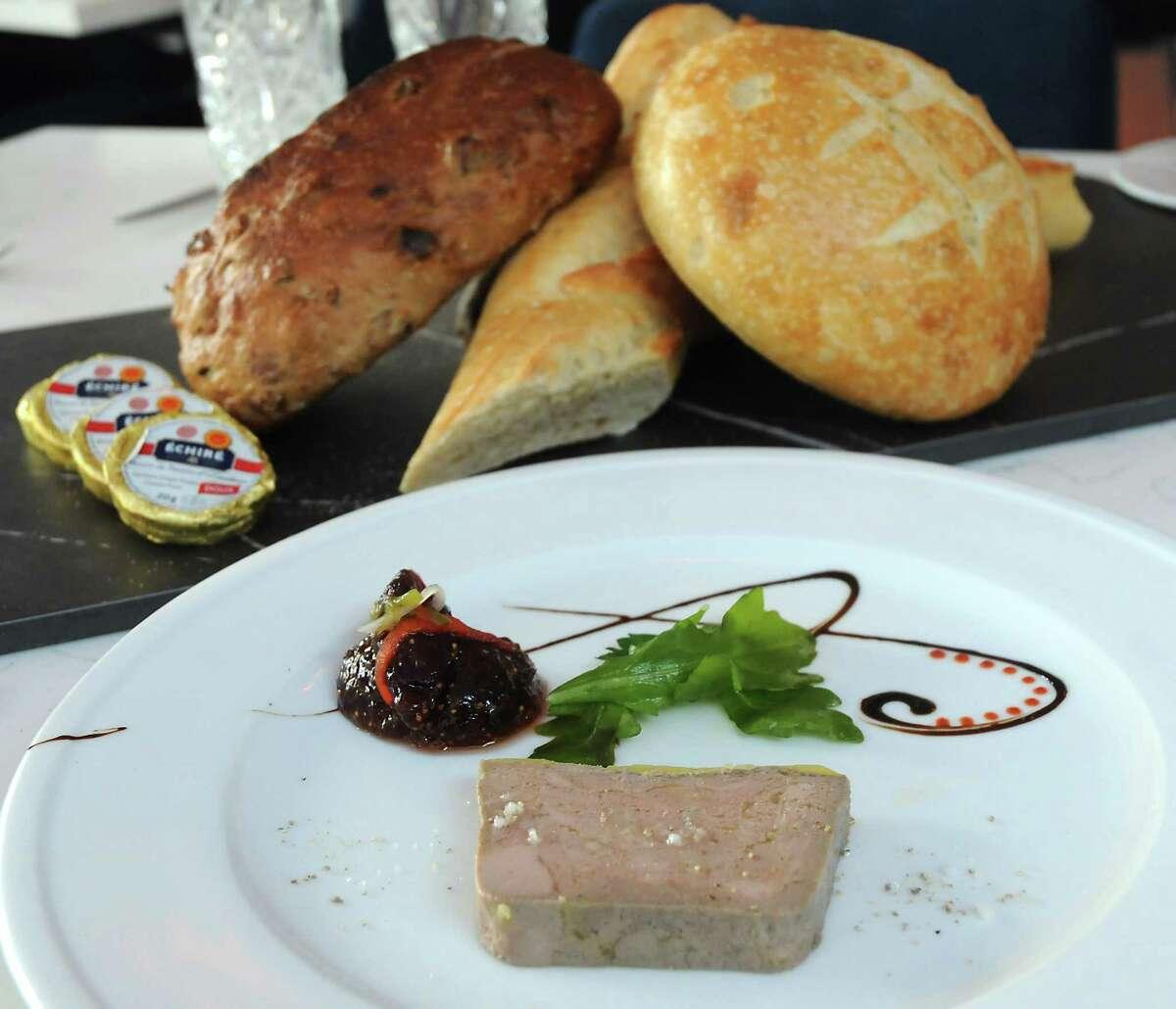 The duck foie gras with porto fig chutney at La Villa Saint-Tropez restaurant in Montrose.