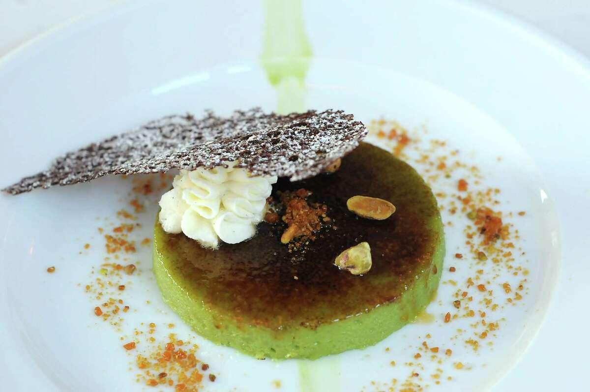 The pistachio creme brûlée at the new La Villa Saint-Tropez restaurant on Montrose.