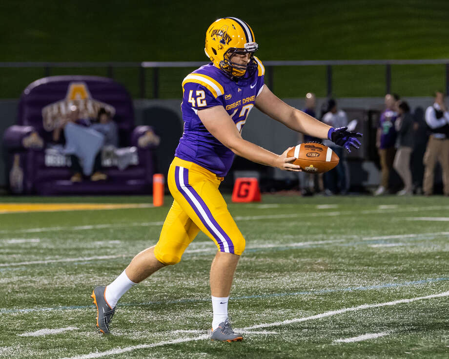 Ethan Stark took over UAlbany's punting duties this season. He's averaging 35.8 yards per punt. (Bill Ziskin/UAlbany athletics) Photo: Bill Ziskin/UAlbany Athletics
