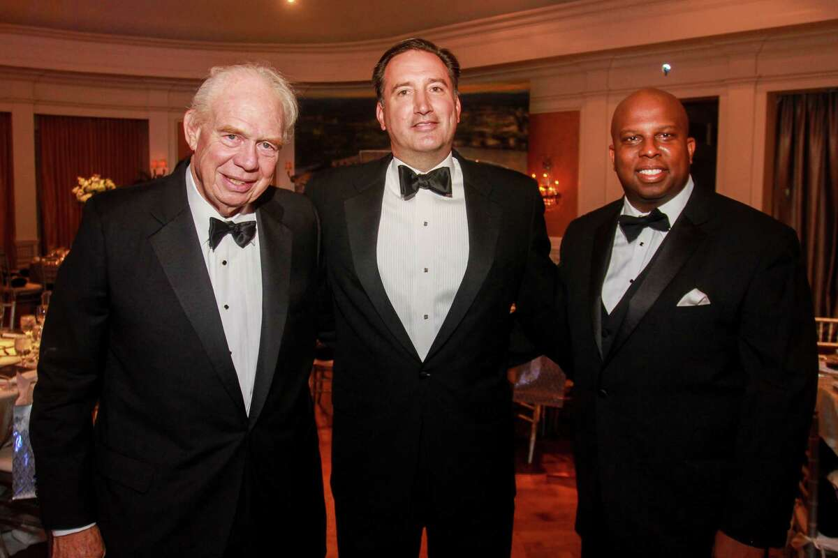 Dr. Leland Winston, from left, Adam Peakes and Donald Bowers at An Evening in Rice's Honour, Rice University's bi-annual gala.