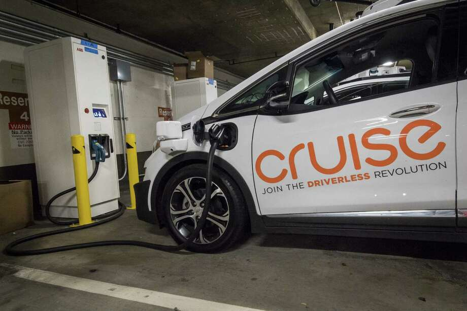 A General Motors Cruise Autonomous Test Vehicle Is Parked At Charging Station In San Francisco