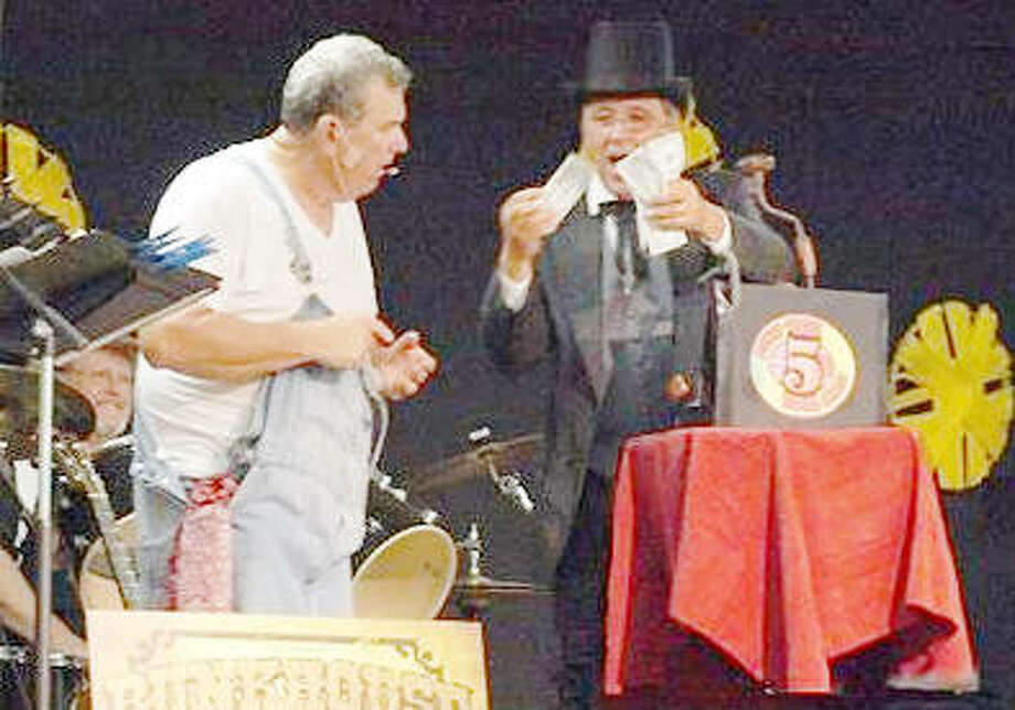 CEC members Mike Sievers (left) and Rick Ringhausen (right) perform during the annual July Jamboree in Kampsville. A second Jamboree is planned for Nov. 10 to raise money for new microphones. Photo: For The Telegraph