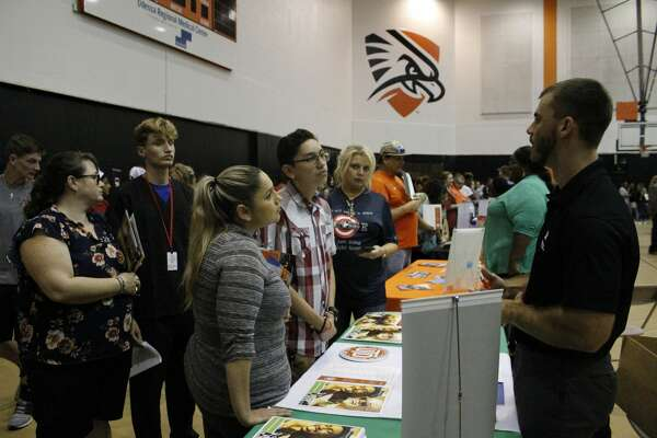 Local eighth- through 12th-grade students had the opportunity to visit with more than 50 colleges and universities Wednesday as part of Ector County ISD's annual College Night. The event was in the University of Texas of the Permian Basin's gymnasium and organized by ECISD's secondary counselors and college and career advisors. Parents and students had the chance to talk with college representatives about everything from admissions standards to fields of study to financial aid. Separate financial aid forums were held in both English and Spanish.