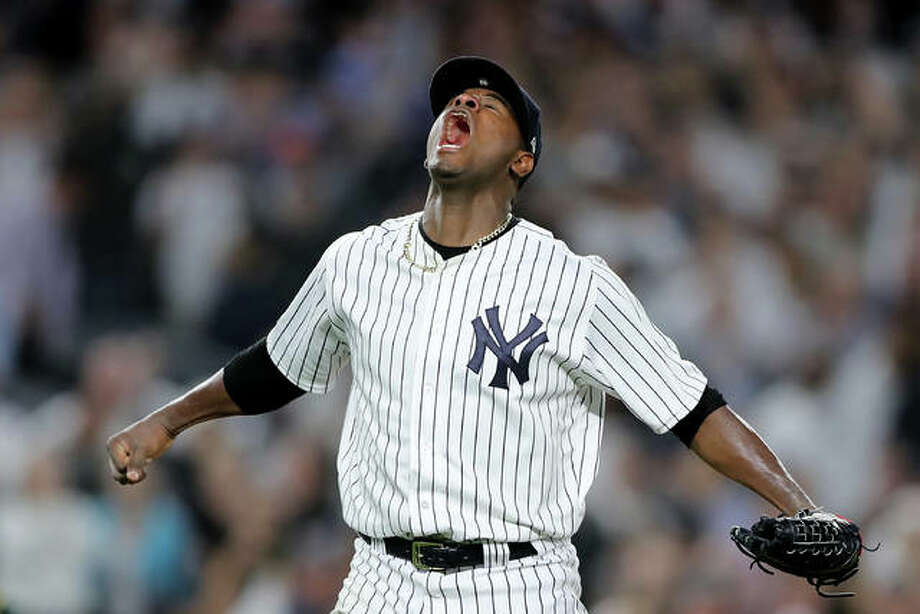 Luis Severino of the New York Yankees reacts after closing out the third inning against the Oakland Athletics during the American League Wild Card Game at Yankee Stadium on October 03, 2018 in the Bronx borough of New York City. (Photo by Elsa/Getty Images)
