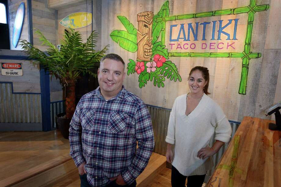 "Cantiki Taco Deck Operations Manager Tom Ammerman and Event Coordinator Samantha Gordon at 80 Washington St. in Norwalk. Cantiki opens Oct. 10 with a ""tropical oasis"" vibe, menu and drinks. Photo: Erik Trautmann / Hearst Connecticut Media / Norwalk Hour"