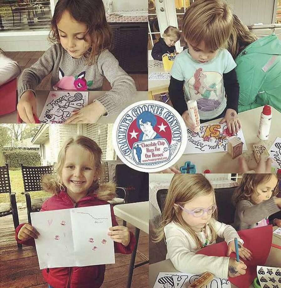 Children create drawings and write thank-you notes as part of Grammy's Cookie Convoy,Inc., a 501 c 3 nonprofit, that sends gourmet chocolate chip cookies to service personnel stationed overseas. Funds from a November 8 golf tournament will benefit the efforts.