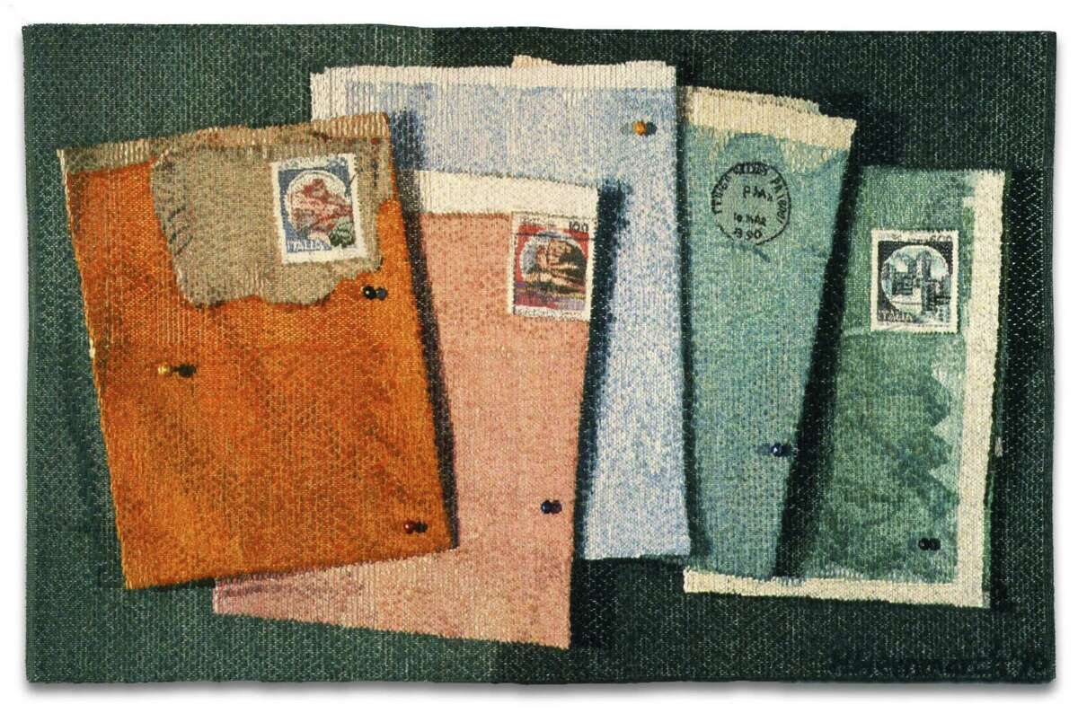 Helena Hernmarck, Italian Postage, 1990; Collection of Rosemary and Thomas Fitzsimmons.