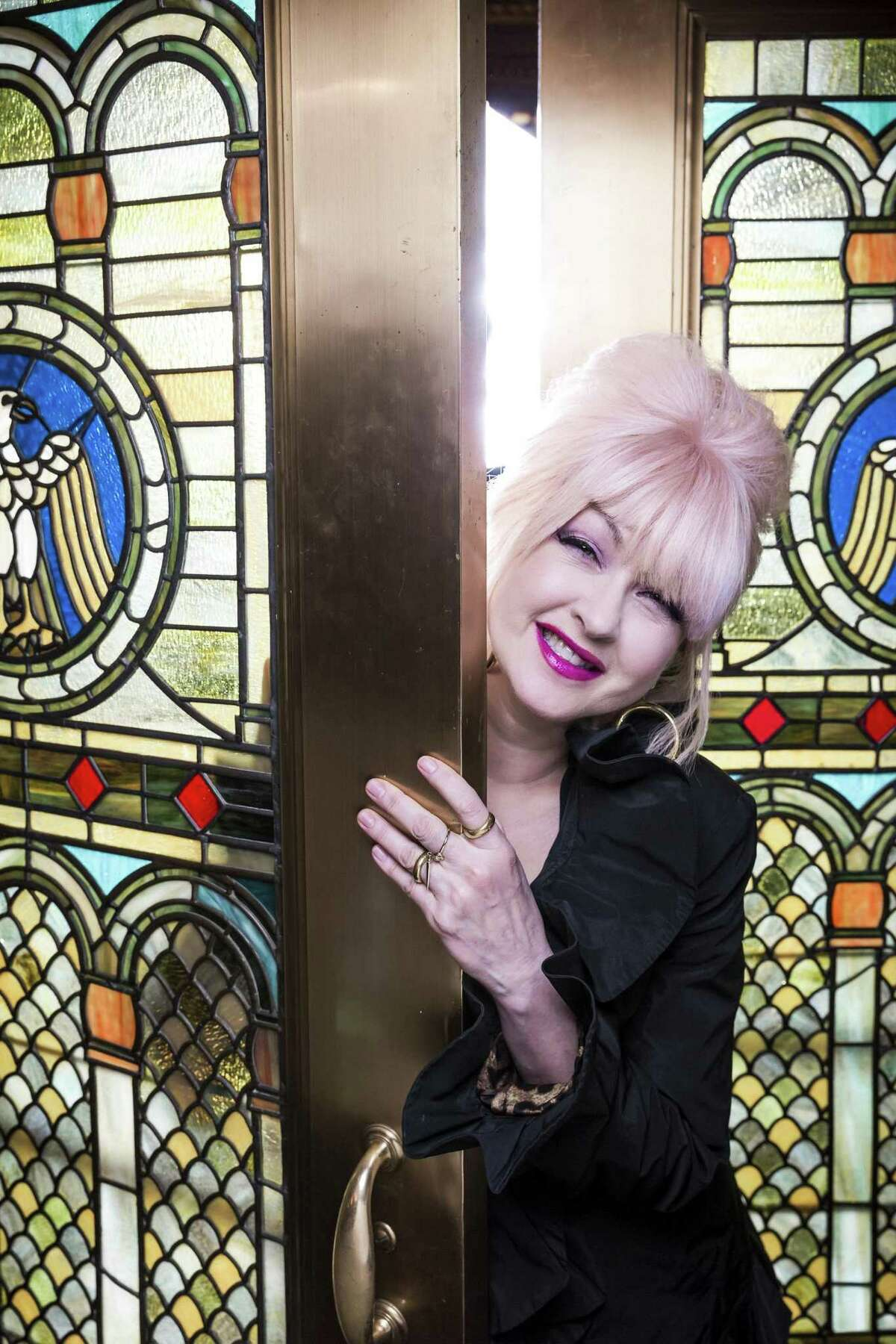 """Pop trailblazer Cyndi Lauper at the Al Hirschfeld Theater in New York, Feb. 27, 2013. Lauper has composed the music for the upcoming Broadway version of """"Kinky Boots,"""" adapted from the 2005 movie -- a first for her. (Chad Batka/The New York Times) -- PHOTO MOVED IN ADVANCE AND NOT FOR USE - ONLINE OR IN PRINT - BEFORE MARCH 17, 2013."""