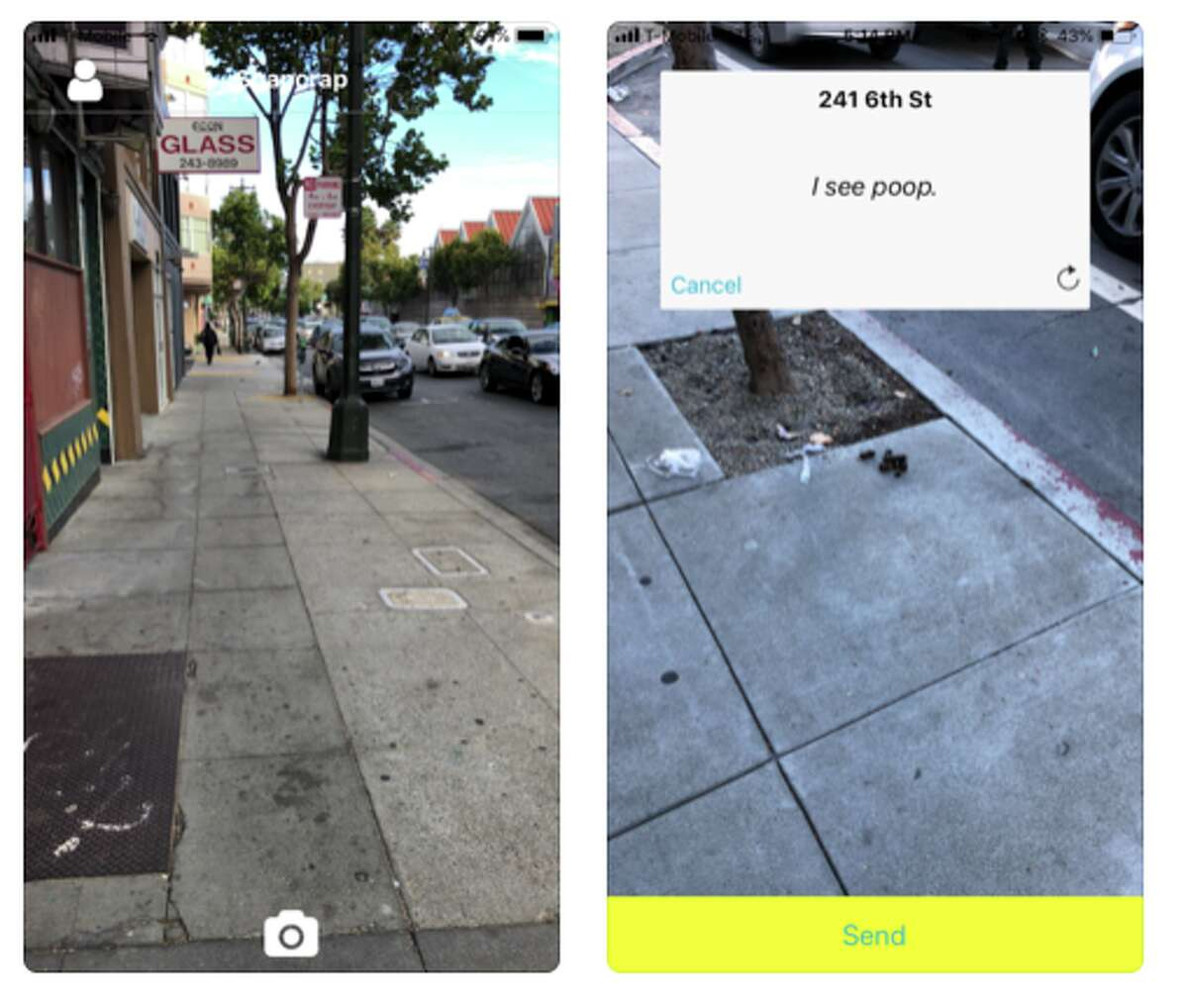 See something gross? The new 'SnapCrap' app allows you to take a photo and press submit. Tickets get instantly submitted to San Francisco's 311 line.