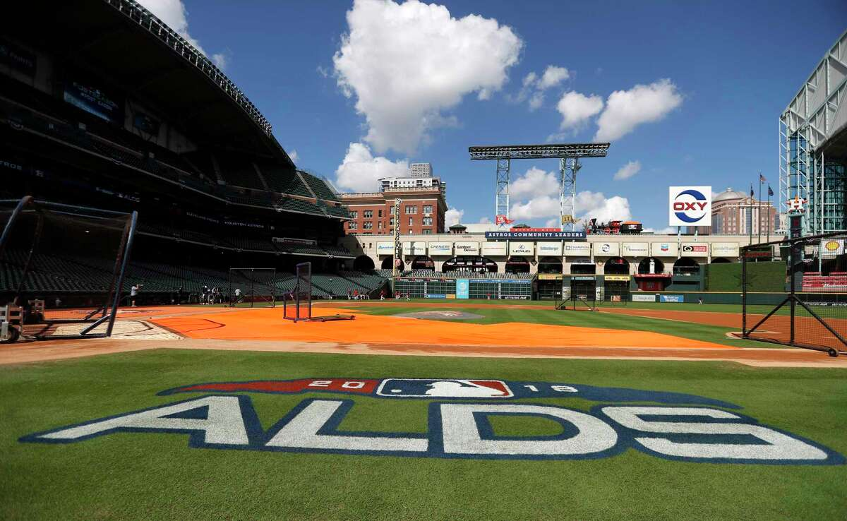 The ALDS logo on the field during workouts at Minute Maid Park, October 4, 2018, in Houston.
