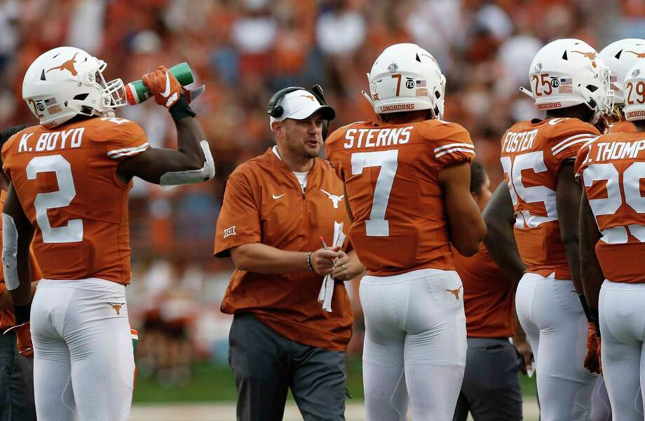 AUSTIN, TX - SEPTEMBER 22:  Head coach Tom Herman of the Texas Longhorns reacts during a timeout with Caden Sterns #7 and Kris Boyd #2 in the second half against the TCU Horned Frogs at Darrell K Royal-Texas Memorial Stadium on September 22, 2018 in Austin, Texas. Photo: Getty Images / 2018 Getty Images