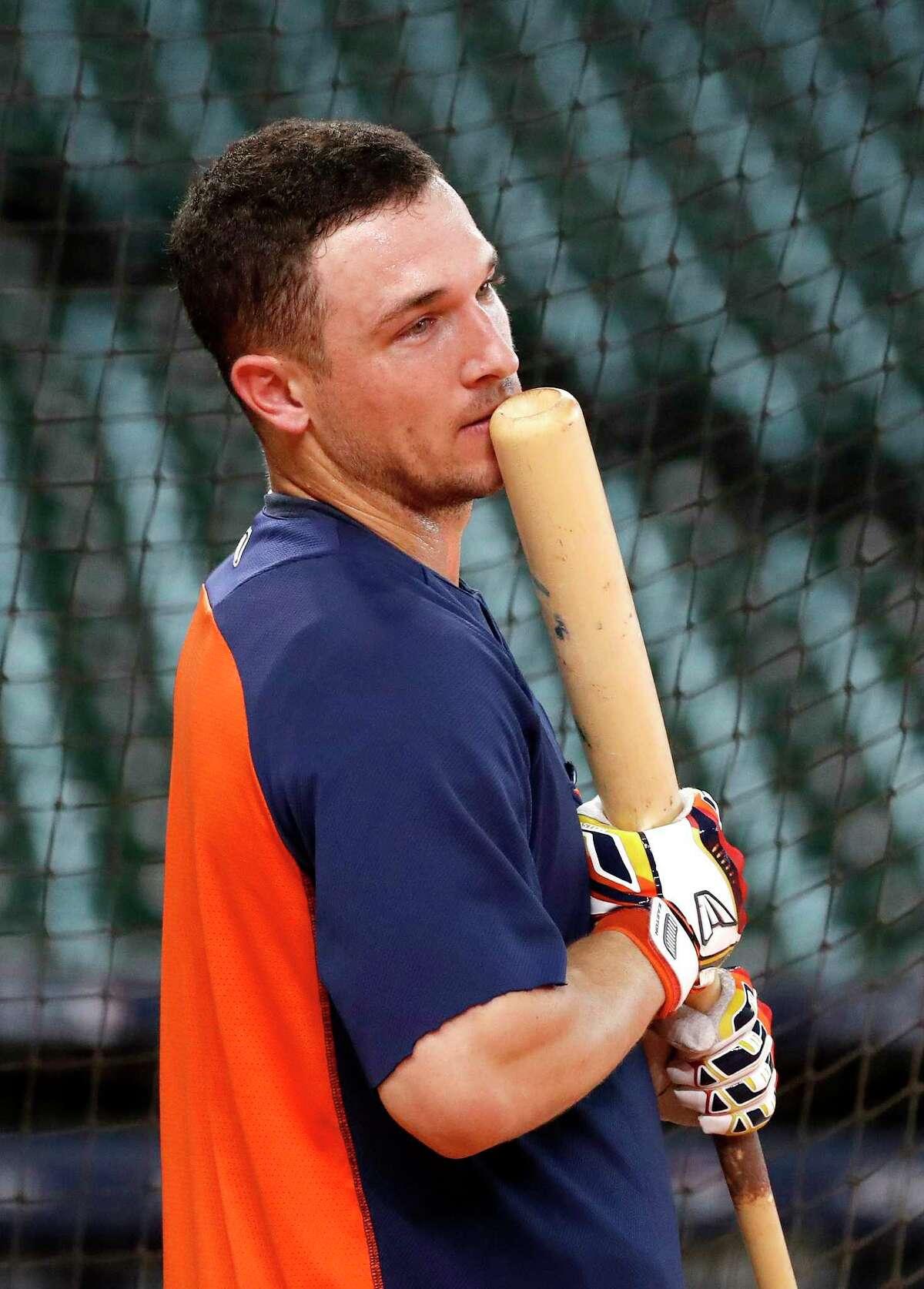 Houston Astros third baseman Alex Bregman (2) waits to bat during batting practice at Minute Maid Park, October 4, 2018, in Houston.