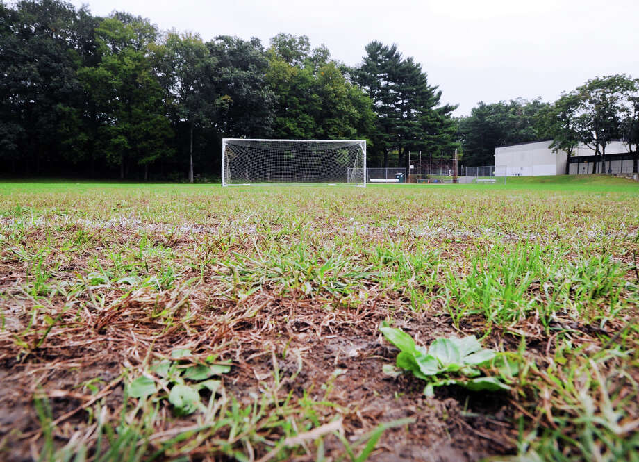 A soccer goal can be seen on the athletic field at Central Middle School in Greenwich, Conn., Thursday, Oct. 4, 2018. Photo: Bob Luckey Jr., Hearst Connecticut Media / Greenwich Time