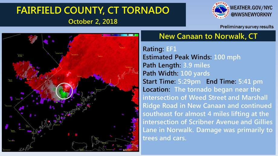A radar image of Tuesday's tornado in New Canaan and Norwalk. Photo: Contributed Photo / National Weather Service