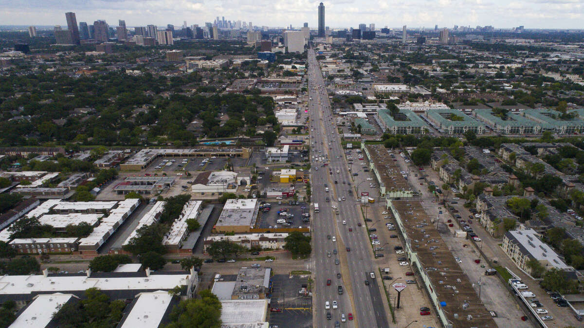 Westheimer Road spans ten lanes where it intersects with the eight lanes of Voss Road and Hillcroft Avenue.