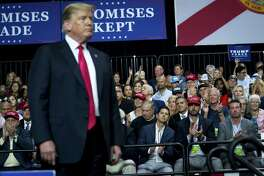 President Donald Trump holds a campaign rally at the Florida State Fairgrounds in Tampa, July 31, 2018.